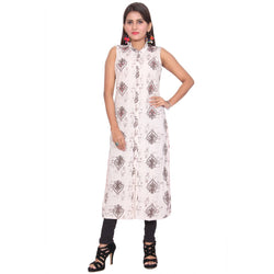 Chhapai Sleeveless Printed White Straight Cotton Kurti $ CK-1017