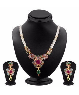 Sukkhi Delightful Gold Plated AD Necklace Set