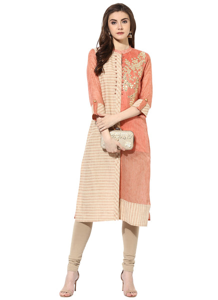 Mytri Women's Beige & Rust Chanderi Embroidered Straight Kurta $ 9000485-BEIGERUST