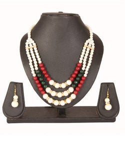Adoreva Red White Gold Pearl Beads Diamond Long Fashion Bollywood Necklace Earring Set