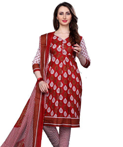 Minu Suits Red Cotton Salwar Suits Sets Dress Material Freesize,Redbeauty16_16002