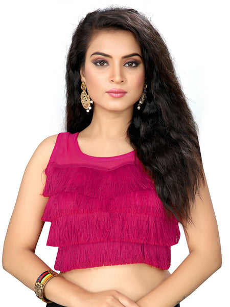YOYO Fashion Magenta Silk Solid Blouse & YO-BL4010-Magenta