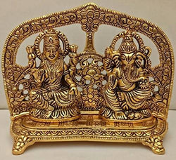 Gold Plated Laxmi Ganesh God Idol with Velvet Box Packing (18 cm, Gold) $ GSI-146