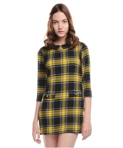 ALLISON TAYLOR Yellow and Black SHORT DRESS