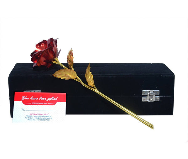 Valentine Gift Red Rose 25 cm with Love Stand and Black Velvet Box Packing (25 cm, Red Rose) $ IGR-102