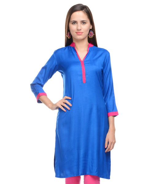 KAVYANI Blue Rayon Kurti-WE670_BLUE