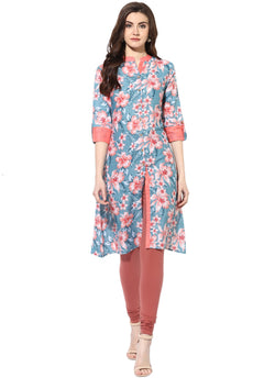 Mytri Women's Multi Cotton Printed A-Line Kurta $ 9000480-MULTI