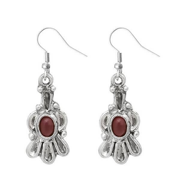Tanishka Fashion Silver Plated Red Stone Dangler Earrings $ 1303538D