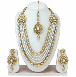 Gold Plated Alloy Metal Hand Crafted Work Women's White Chhagan Necklace Set $ AF788620