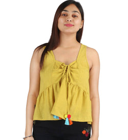Fashion Tiara Women's Mustard Yellow Cotton Drawstring Tops $ FTT220