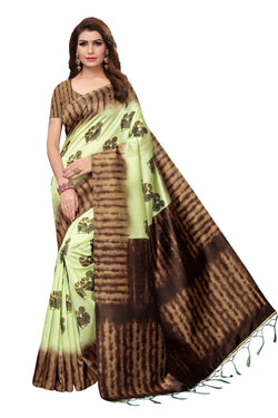16to60trendz Green Art Silk Printed Mysore Art Silk Saree $ SVT00201