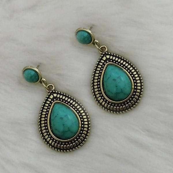 Tanishka Fashion Gold Plated Green Turquoise Stone Dangler Earrings $ 1310859A