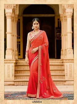 Umang NX Red Georgette Designer Embroidery Sarees $ UN5834
