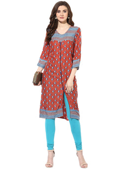 Mytri Women's Multi Rayon Printed Straight Kurta $ 9000477-MULTI
