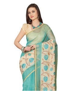 Laethnic Light Blue-Cream Supernet Checks Saree