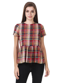 Fashians checks Red Crepe Top $ FS-1700021