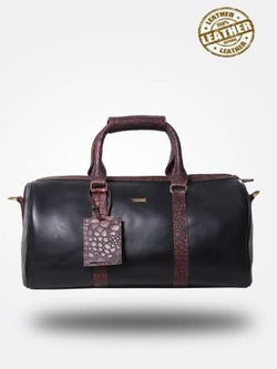 Strutt Unisex The Signature Croc Print Brown Black Leather Cabin Baggage $ SMD548