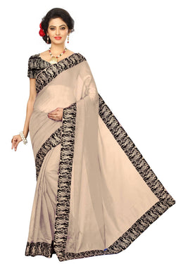 16to60trendz Beige Chanderi Lace Work Chanderi Saree $ SVT00227