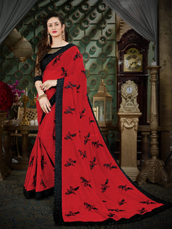 Fashion Zonez Thread Embroidered Georgette Red Designer Saree With Blouse $FZ 2004