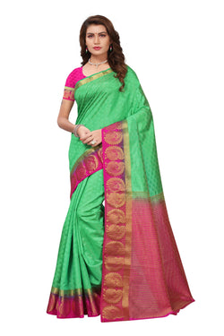 16to60trendz Green and Pink Tusar Silk Handloom Art Work Kanjivaram saree $ SVT00027