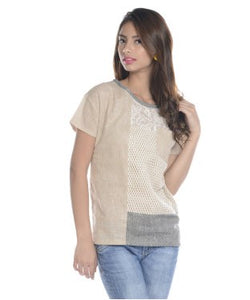 Viro Beige, Cream And Black S/S Top