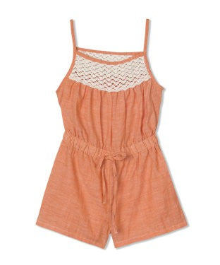 Budding Bees Girls Orange Chambray Paysuit