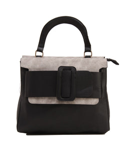 Fiona Trends Black PU Hand Held Bag,K73_BLACK