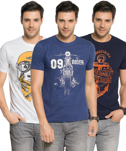 Zorchee Mens Round Neck Half Sleeve Cotton Printed T-Shirts (Pack of 3) - White, Navy Melange & Navy_ZO-16-21-07