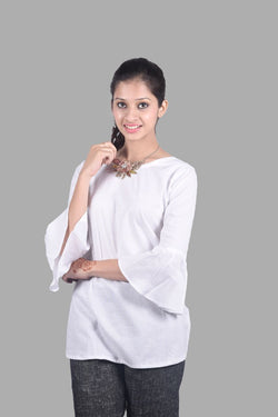 Pure White Khadi Top with Bell Sleeves $ IWK-TOP-416