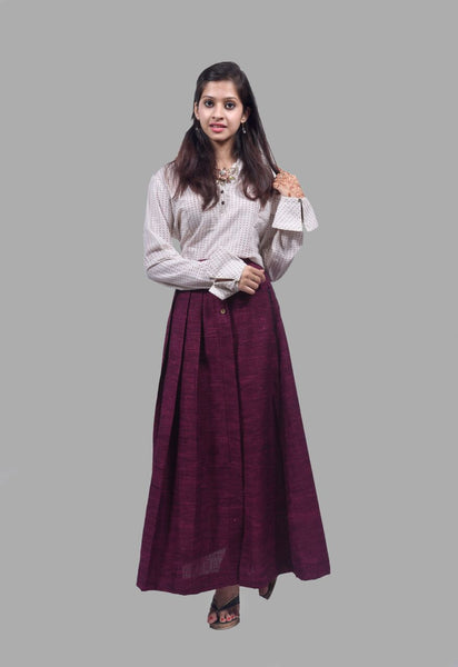 Wine Khadi Pleated Long Skirt $ IWK042