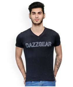 Dazzgear Men's Black V Neck MTV-67 T-Shirt