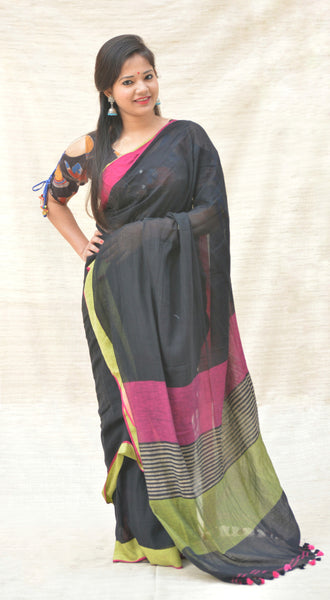 Khadi Cotton Black and Magenta Saree with Pom-Poms $ IWK-0046