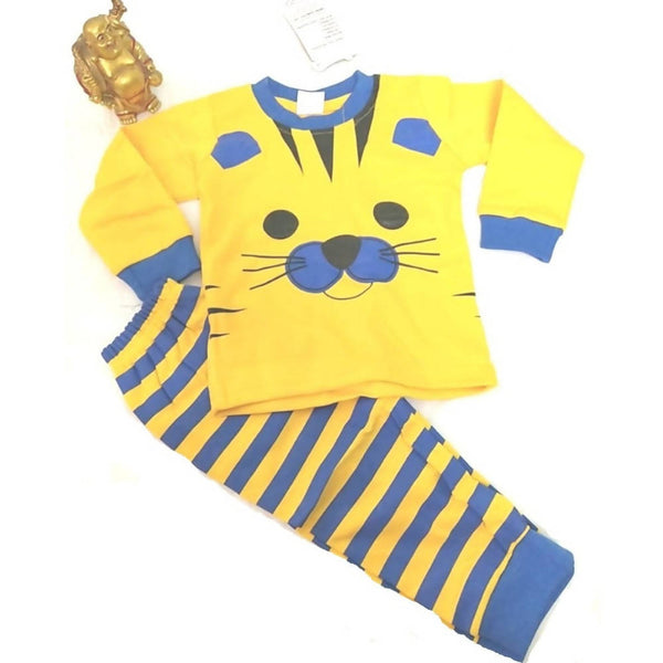 Tiger Printed Bear Top & Bottom Set For Baby KidsYellow & Blue $ CP-KA28
