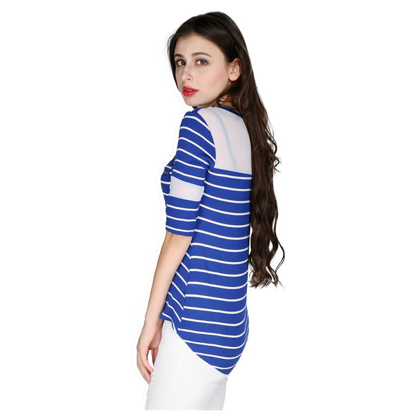 London Rag Womens Stripped Round Neck Blue Color Top-CL7240