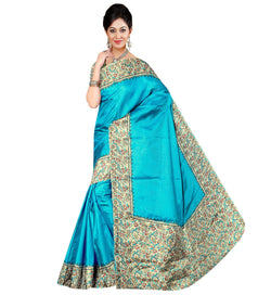 BL Enterprise Women's Bhagalpuri Cotton Silk Turquoise Color Saree With Blouse Piece $ BLLB-47