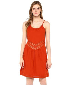 Miway Red Solid Shift Dress