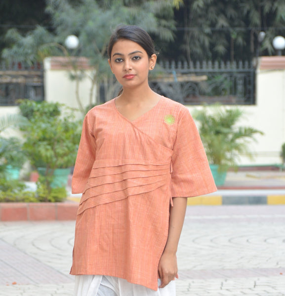Orange Angarkha Style Cotton Top $ IWK-000522