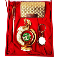 Gold Plated Ball Pen with Visiting Card Holder with Key Ring and Peacock Shape Allah Car Dashboard and Home Temple with Velvet Box $ IGSPBR101057