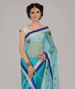 Net Saree with Blouse and Lining