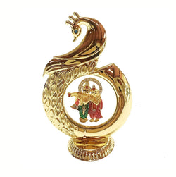 Gold Plated Peacock Shape Radha Krishna God Idol 12 cm Car Dashboard and Gold Plated Pen and Gold Plated Visiting Card Holder $ IGSPBR101010