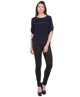 Glam a gal navy 3/4 sleeve top