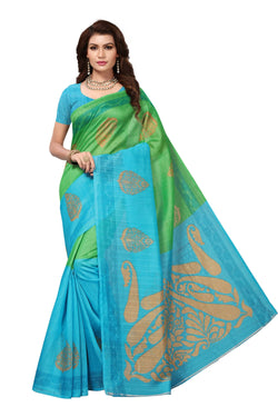 16TO60TRENDZ Green Color Printed Bhagalpuri Silk Saree $ SVT00450