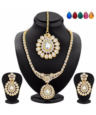 Sukkhi Appealing Gold Plated AD Necklace Set with Set of 5 Changeable Stone