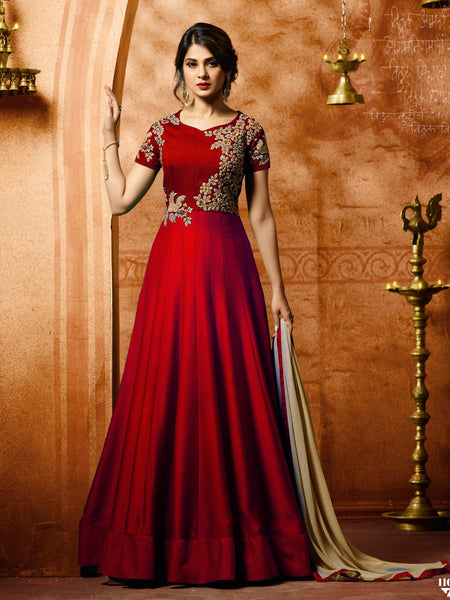 YOYO Fashion Bollywood Designer Silk Anarkali Salwar Suit With Dupatta - F1153 Red