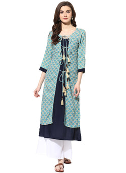 Mytri Women's Blue & Beige Rayon Printed Layered Kurta $ 9000501-BLUEBEIGE
