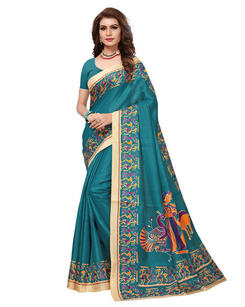 Muta Fashions Women's Unstitched Khadi Silk Sea Green Saree $ MUTA1481