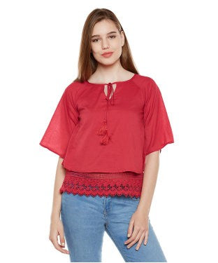 Oxolloxo Red Lace Top With Tussles