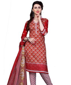 Minu Suits Red Cotton Salwar Suits Sets Dress Material Freesize,Redbeauty16_16009