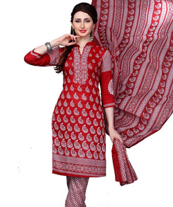 Minu Suits Red Cotton Salwar Suits Sets Dress Material Freesize,Redbeauty16_16012
