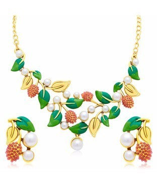Sukkhi Magnificent Leaf Hand Painted Gold Plated Necklace Set For Women